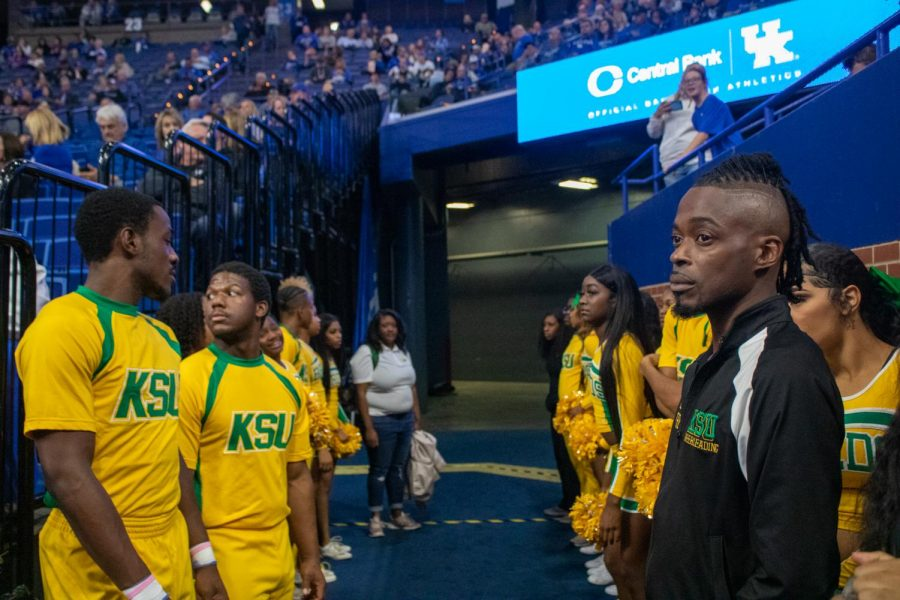 Coach Timothy  Queen and his cheerleaders to the Kentucky State University Vs. University Of Kentucky Basketball game