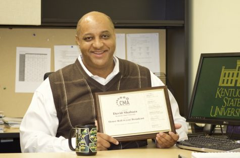Associate professor of journalism David Shabazz is a recipient of the Honor Roll 4-year Broadcast Advisor from College Media Association for 2019-2020